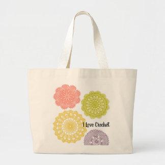 Jumbo eu amo o bolsa do Crochet