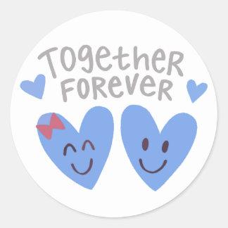 Junto para sempre etiquetas dos corações