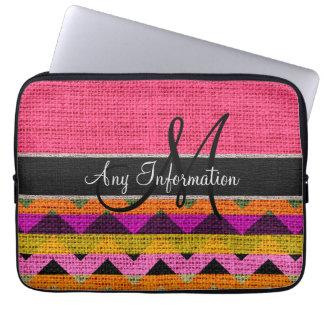 Juta cor-de-rosa de serapilheira do ziguezague de capas para laptop
