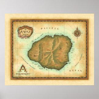 Kauai-map-4000-dpi-across Pôster