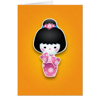 Kawaii Kokeshi (rosa) Cartão De Nota