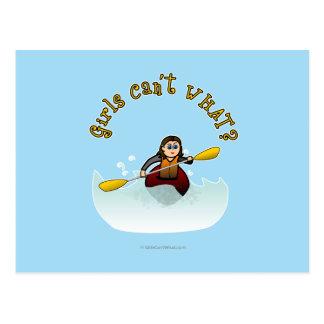 Kayaker fêmea claro cartão postal