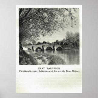 Kent histórico, ponte do leste de Farleigh Poster