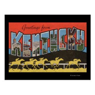 Kentucky (cena) da corrida de cavalos - grande cen cartao postal