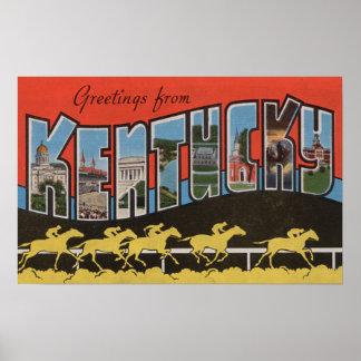Kentucky (cena) da corrida de cavalos - grande cen poster