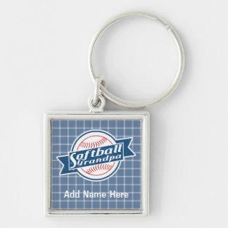 Keyring customizável do vovô do softball chaveiro quadrado na cor prata