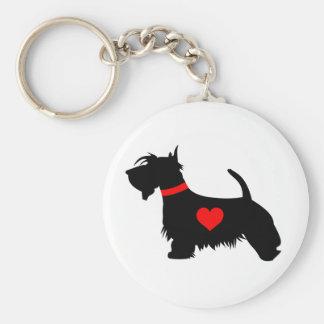 Keyring do botão do coração do cão do Scottie Chaveiro