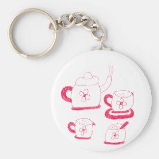 Keyring do botão do tempo do chá chaveiro