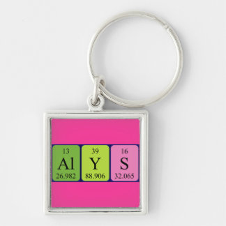 Keyring do nome da mesa periódica de Alys Chaveiro Quadrado Na Cor Prata