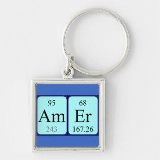 Keyring do nome da mesa periódica de Amer Chaveiro