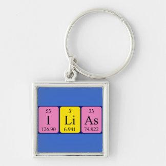 Keyring do nome da mesa periódica de Ilias Chaveiro Quadrado Na Cor Prata