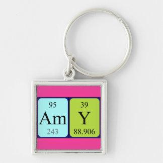 Keyring do nome da mesa periódica do Amy Chaveiro Quadrado Na Cor Prata
