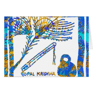Krishna - flauta, soro de leite coalhado da pena n cartão de nota