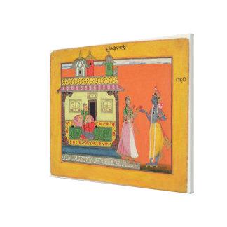 Krishna que chega na casa de Radha, ilustração fra Impressão De Canvas Envolvida