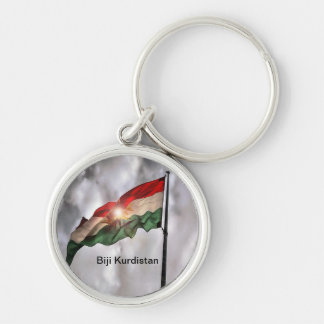 Kurdistan porta-chaves chaveiro redondo na cor prata