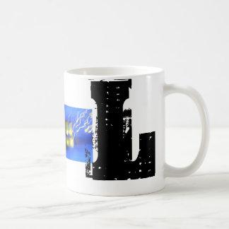 L caneca legal do Grunge do monograma tipográfico
