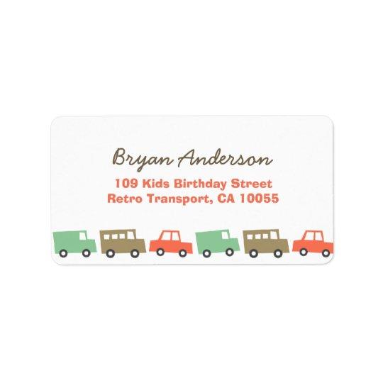 La retro do endereço do aniversário do transporte etiqueta de endereço
