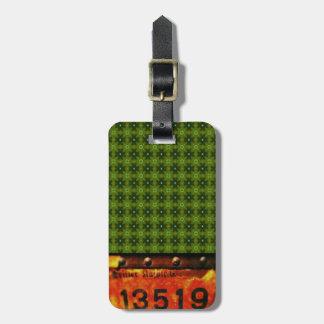 label vintage green pattern tag de bagagem