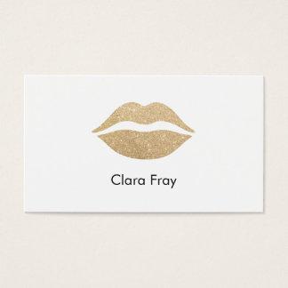 lábios claros elegantes do brilho do ouro cartão de visitas