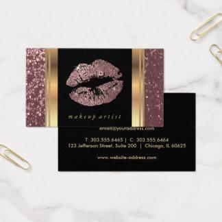 Lábios cor-de-rosa empoeirados do brilho do ouro e cartão de visitas