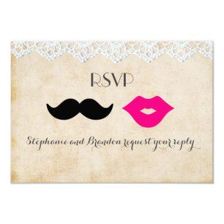 Lábios do laço do vintage & Stache RSVP Convite 8.89 X 12.7cm