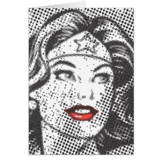 Lábios do vermelho da mulher maravilha cartão comemorativo