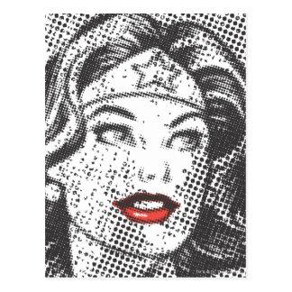 Lábios do vermelho da mulher maravilha cartão postal