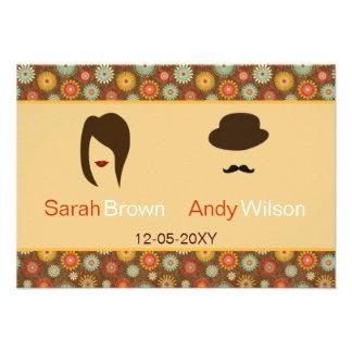 lábios e rsvp floral retro 3,5 x 5 do bigode convite personalizados