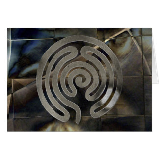 labyrinth antique antique silver | grunge mosaic cartão comemorativo