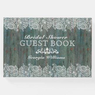 Laço branco na textura de madeira Musgo-Verde Livro De Visitas