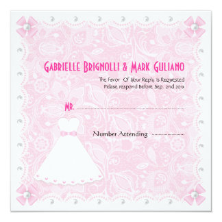 Laço cor-de-rosa & chuveiro nupcial RSVP das Convite Quadrado 13.35 X 13.35cm