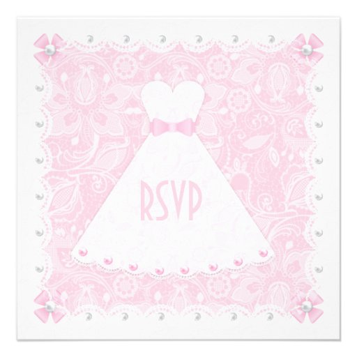 Laço cor-de-rosa & chuveiro nupcial RSVP das pérol Convite Personalizados