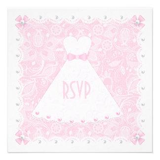 Laço cor-de-rosa chuveiro nupcial RSVP das pérol Convite Personalizados
