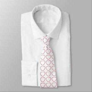 Laço - coração vermelho frisado gravata