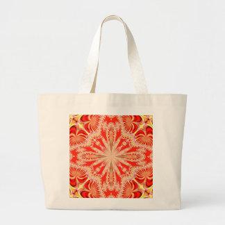 Laço de creme no saco vermelho bolsa para compras