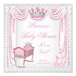Laço do cetim do berço do rosa do chá de fraldas convite quadrado 13.35 x 13.35cm