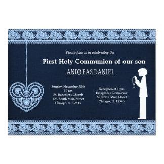 Laço do comunhão santamente (menino) convite 12.7 x 17.78cm