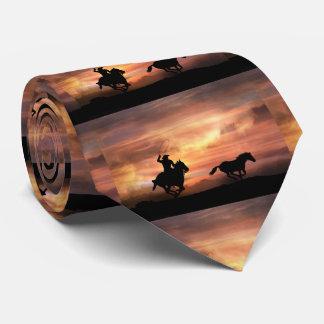 Laço do vaqueiro e do cavalo selvagem gravata