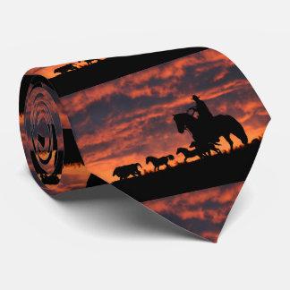 Laço do vaqueiro e dos cavalos selvagens gravata