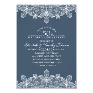 Laço elegante do aniversário de casamento dos convite 12.7 x 17.78cm