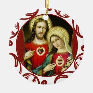 Laço imaculado sagrado do vermelho de Mary do Ornamento De Cerâmica Redondo