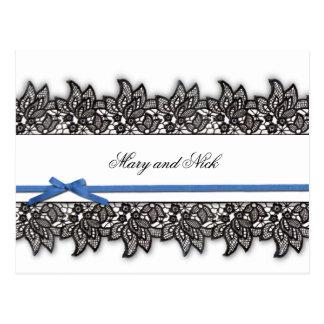 Laço preto e fita azul cartão postal