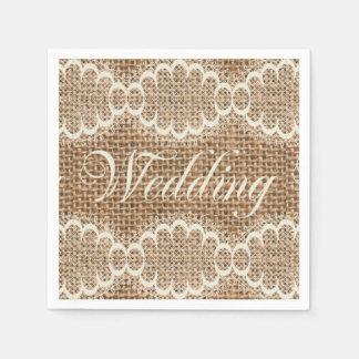 Laço rústico de serapilheira do casamento guardanapos de papel