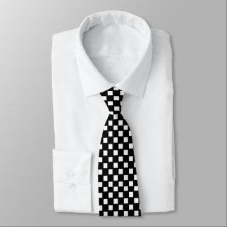Laço verificado preto e branco gravata