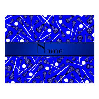 Lacrosse azul conhecido personalizado cartao postal