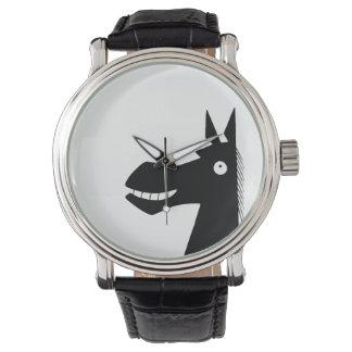Lado escuro do relógio de pulso do cavalo