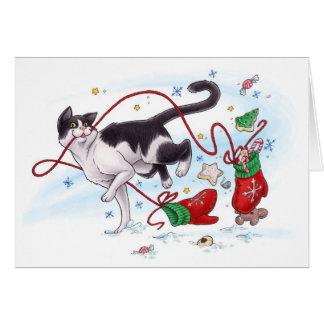 Ladrão do mitene do feriado cartão