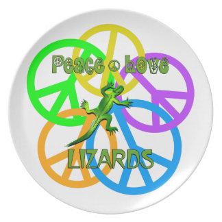 Lagartos do amor da paz prato