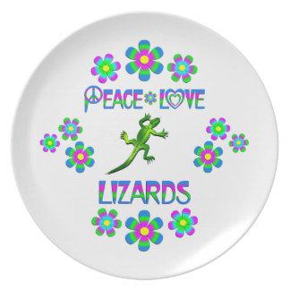 Lagartos do amor da paz pratos