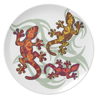 Lagartos ornamentado prato